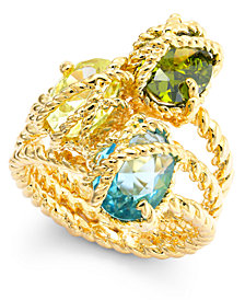 Charter Club Gold-Tone Three Stone-Wrapped Twisted Ring