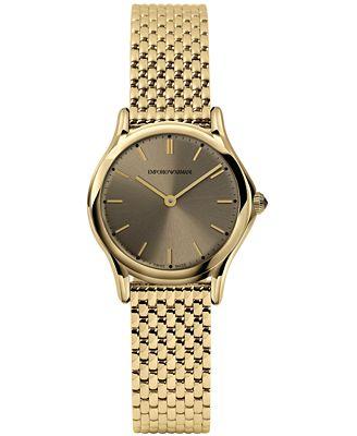 Emporio Armani Women's Swiss Gold-Tone Stainless Steel Bracelet Watch 28mm ARS7002