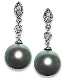 Tahitian Pearl (8mm) and Diamond Accent Earrings in 14k White Gold