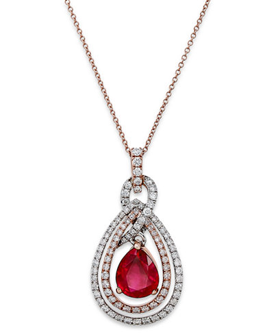 Rosa by Effy Ruby (1-3/4 ct. t.w.) and Diamond (1/2 ct. t.w.) Necklace in 14k White and Rose Gold