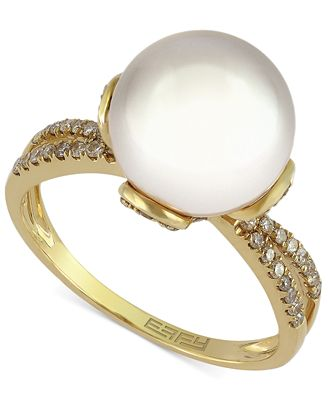 EFFY Cultured Freshwater Pearl (10mm) and Diamond (1/4 ct. t.w.) Ring in 14k Gold