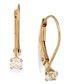 Children's Cubic Zirconia Accent Leverback Earrings in 14k Gold