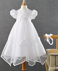 Baby Girls Headband & Handkerchief-Hem Christening Dress Set