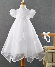 Lauren Madison Baby Girls Headband & Handkerchief-Hem Christening Dress Set