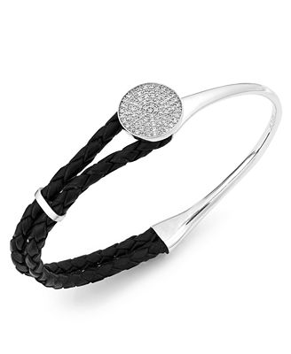 wrapped™ Diamond and Braided Black Leather Bracelet in Sterling