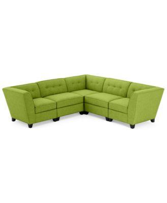 Harper Fabric 5 Piece Modular Sectional Sofa - Custom Colors Created for Macyu0027s  sc 1 st  Macyu0027s : green sectional sofa - Sectionals, Sofas & Couches