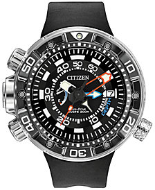 Citizen Men's Eco-Drive Promaster Aqualand Depth Meter Black Polyurethane Strap Watch 53mm BN2029-01E