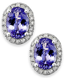 Tanzanite (1-1/2 ct. t.w.) and Diamond (1/5 ct. t.w.) Oval Stud Earrings in 14k White Gold