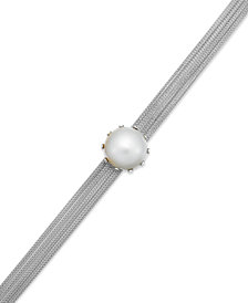 Cultured Freshwater Mabe Pearl and Mesh Chain Bracelet in Sterling Silver (16mm)