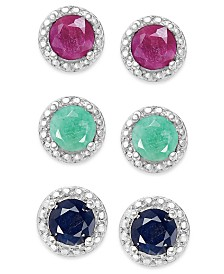Emerald (1/2 ct. t.w.), Ruby (5/8 ct. t.w.) and Sapphire (5/8 ct. t.w.) Earring Set in Sterling Silver