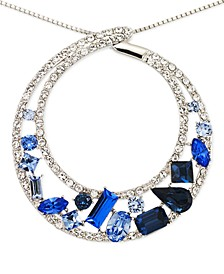 Blue and White Crystal Circle Pendant Necklace in Platinum over Sterling Silver