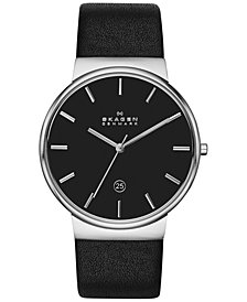 Skagen Men's Ancher Black Leather Strap Watch 40mm SKW6104