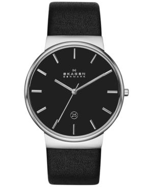 Skagen Men's Ancher Black Leather Strap Watch 40mm SKW6104