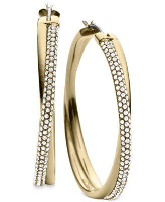 Michael Kors Clear Pave Crisscross Hoop Earrings