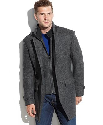 MICHAEL Michael Kors Englewood Wool-Blend Herringbone Walking Coat ...