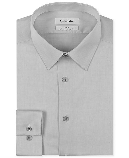 Calvin Klein Men S Slim Fit Non Iron Performance Herringbone Point Collar Dress Shirt Shirts Macy