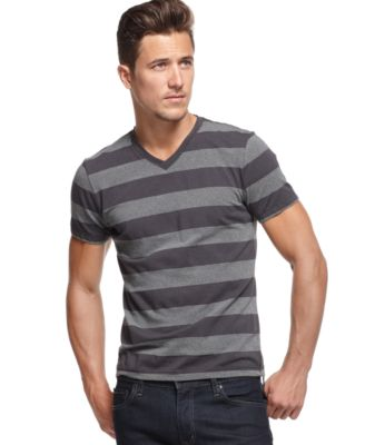 Image of Alfani Men's Wide Striped V-Neck T-Shirt, Only at Macy's