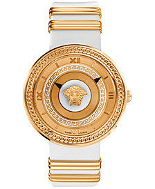 Versace Unisex Swiss V-Metal Rose Gold Ion-Plated Accent White Leather Strap Watch 40mm VLC040014