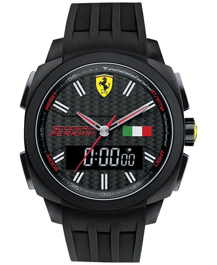 Ferrari - Men's Analog-Digital Aerodinamico Black Silicone Strap Watch 46mm 830123