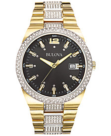 Bulova Men's Crystal Accent Gold-Tone Stainless Steel Bracelet Watch 43mm 98B235