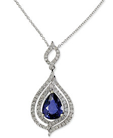 Royale Bleu by EFFY Diffused Sapphire (1-3/4 ct. t.w.) and Diamond (1/2 ct. t.w.) Pendant Necklace in 14k White Gold