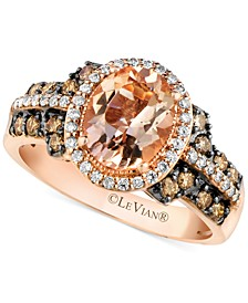 Peach Morganite (1-3/8 ct. t.w.) and Diamond (1/2 ct. t.w.) Ring in 14k Rose Gold, Created for Macy's