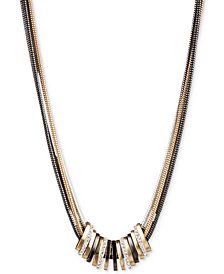 Nine West Tri-Tone Crystal Large Slider Necklace