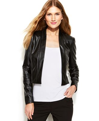 Calvin Klein Faux-Leather Open-Front Cropped Jacket - Jackets