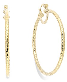 Twisted Large Hoop Earrings in 14k Gold Over Sterling Silver