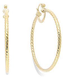Simone I. Smith Twisted Large Hoop Earrings in 14k Gold Over Sterling Silver