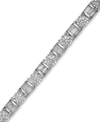 Diamond Bracelet in 14k White Gold 5 ct t w Bracelets