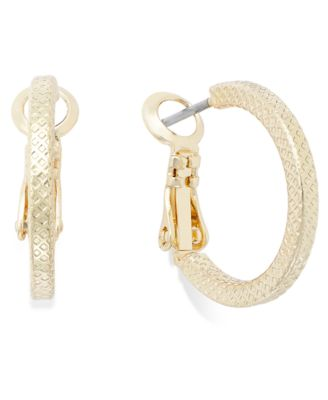Image of Charter Club Small Textured Hoop Earrings