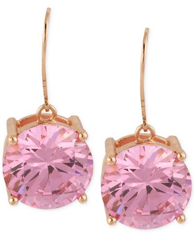 Betsey Johnson Rose Gold-Tone Pink Crystal Drop Earrings