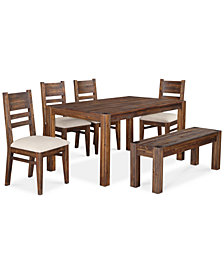 Rustic Dining Tables Macys - Distressed wood dining table with bench