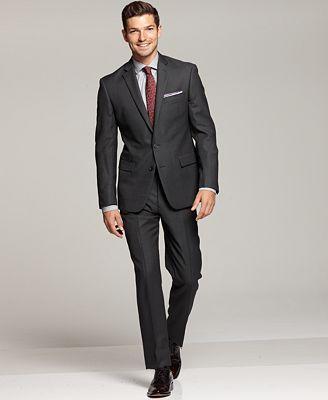 Ryan Seacrest Distinction Grey Modern Fit Suit Separates & Striped Dress Shirt