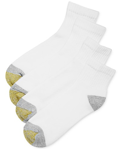 Gold Toe Men's Socks, Athletic Cushioned Quarter 4 Pack, Created for Macy's