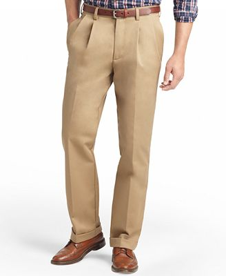 IZOD Men's American Classic-Fit Wrinkle-Free Pleated Chino Pants ...