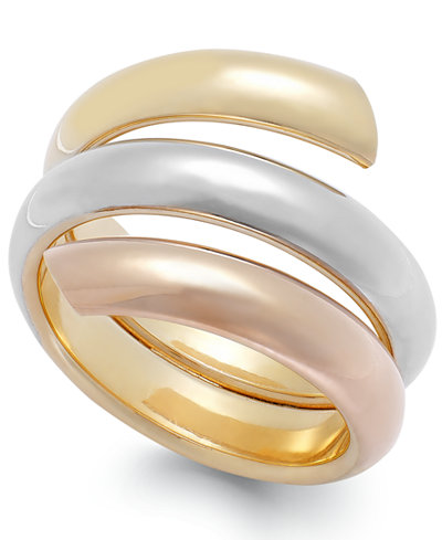 Italian Gold Tri Tone Byp Ring In 14k