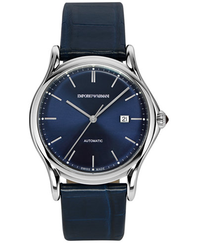 Emporio Armani Men's Swiss Automatic Blue Leather Strap Watch 42mm ARS3011