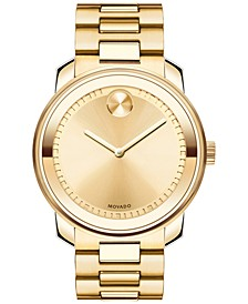 Unisex Swiss Bold Gold Ion-Plated Stainless Steel Bracelet Watch 43mm