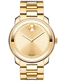 Movado Unisex Swiss Bold Gold Ion-Plated Stainless Steel Bracelet Watch 43mm 3600258