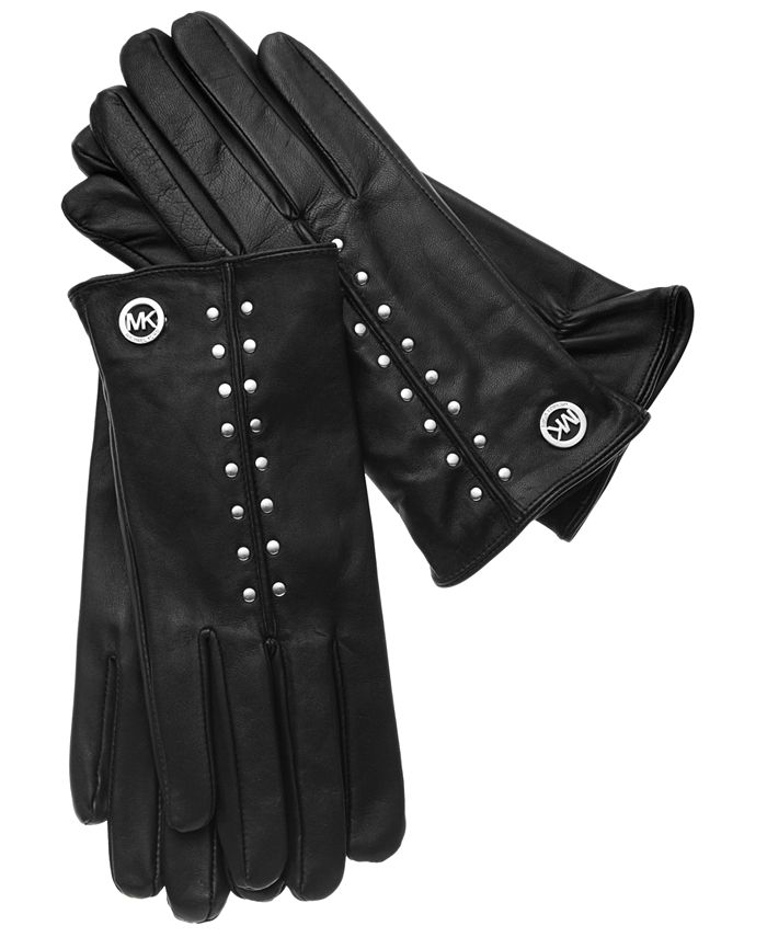 Michael Kors - Leather Tech Touch Astor Studded Gloves