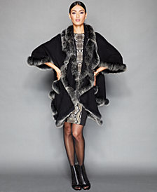 The Fur Vault Fox-Fur-Trimmed Cashmere-Blend Cocoon Jacket
