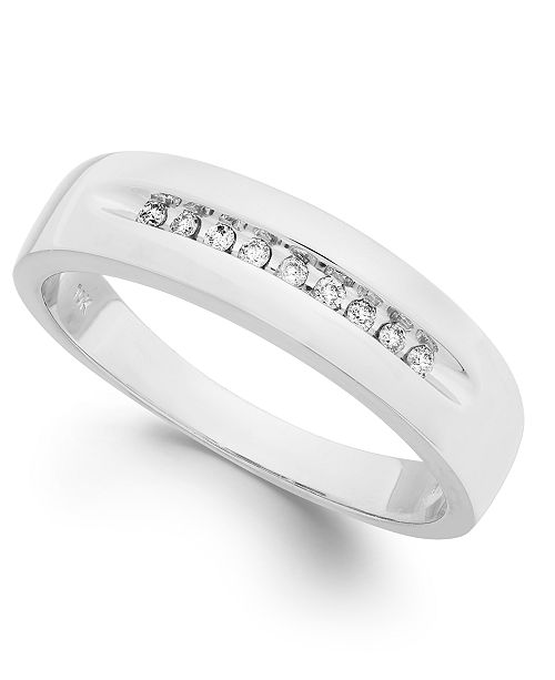 Macy's Men's Diamond Brushed Band in 10k Gold (1/10 ct. t.w.)