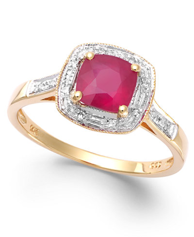 Ruby 1 1 4 Ct T W And Diamond Accent Ring In 14k Gold