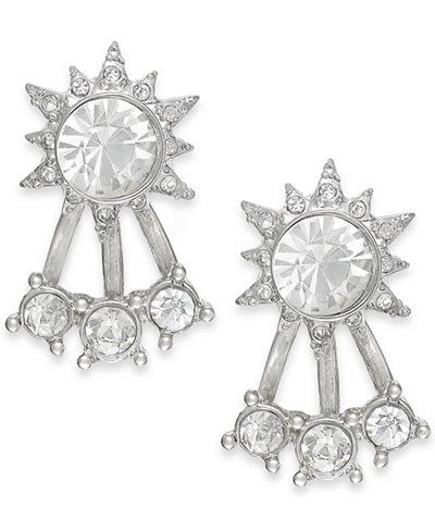 ABS by Allen Schwartz Silver-Tone Crystal Front-Back Stud Earrings