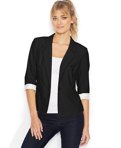 kensie Three-Quarter-Sleeve Blazer - Jackets - Women - Macy's