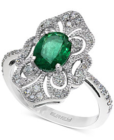 Brasilica by EFFY Emerald (1-1/8 ct. t.w.) and Diamond (1/3 ct. t.w.) Ring in 14k White Gold