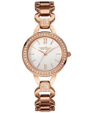 Caravelle New York by Bulova Women's Crystal Accent Rose Gold-Tone Stainless Steel Bracelet Watch 28mm 44L163