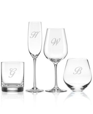 Tuscany Monogram Barware, Set of 4 Script Letter Highball Glasses